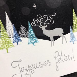 Impression de cartes de Noel avec impression métalisée